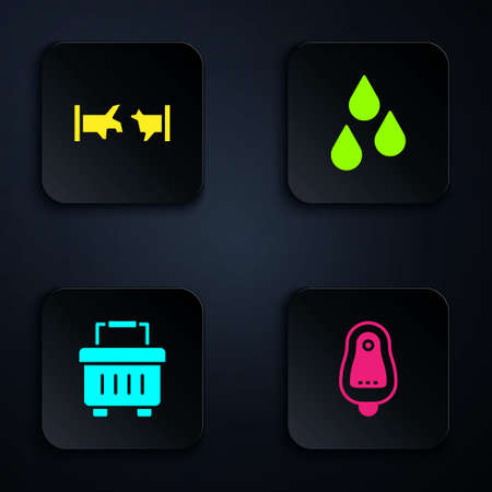 Set Toilet urinal or pissoir, Broken pipe, Toolbox and Water drop. Black square button. Vector