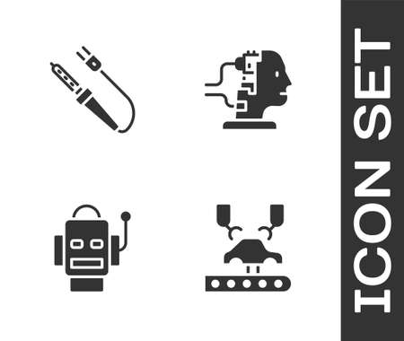 Set Robotic robot arm on factory, Soldering iron, and for maintenance icon. Vector