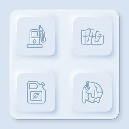 Set line Petrol or gas station, Glacier melting, Bio fuel canister and Global warming. White square button. Vector