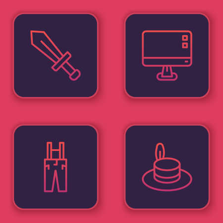 Set line Sword for game, Pants with suspenders, Computer monitor screen and Man hat. Blue square button. Vector