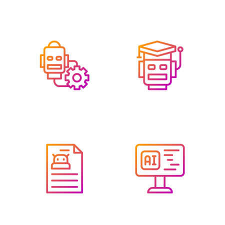 Set line Software, Technical specification, Robot setting and . Gradient color icons. Vector