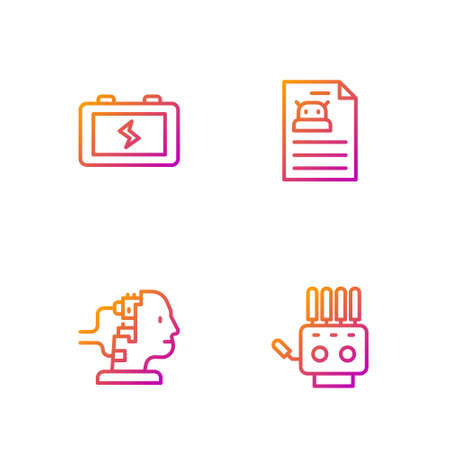 Set line Mechanical robot hand, Robot for maintenance, Battery and Technical specification. Gradient color icons. Vector