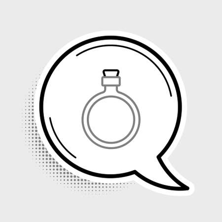 Line Canteen water bottle icon isolated on grey background. Tourist flask icon. Jar of water use in the campaign. Colorful outline concept. Vector