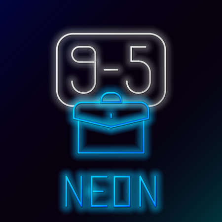 Glowing neon line From 9:00 to 5:00 job icon isolated on black background. Concept meaning work time schedule daily routine classic traditional employment. Colorful outline concept. Vector
