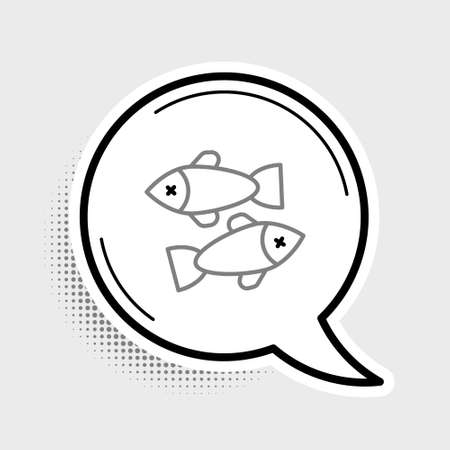 Line Dead fish icon isolated on grey background. Colorful outline concept. Vector Illustration