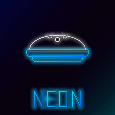 Glowing neon line Homemade pie icon isolated on black background. Colorful outline concept. Vector Vettoriali