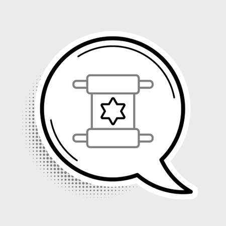 Line Torah scroll icon isolated on grey background. Jewish Torah in expanded form. Star of David symbol. Old parchment scroll. Colorful outline concept. Vector Illustration