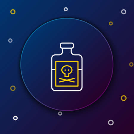 Line Poison in bottle icon isolated on blue background. Bottle of poison or poisonous chemical toxin. Colorful outline concept. Vector