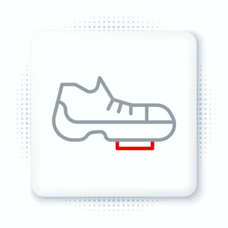 Line Triathlon cycling shoes icon isolated on white background. Sport shoes, bicycle shoes. Colorful outline concept. Vector