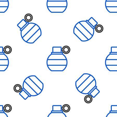 Line Hand grenade icon isolated seamless pattern on white background. Bomb explosion. Colorful outline concept. Vector