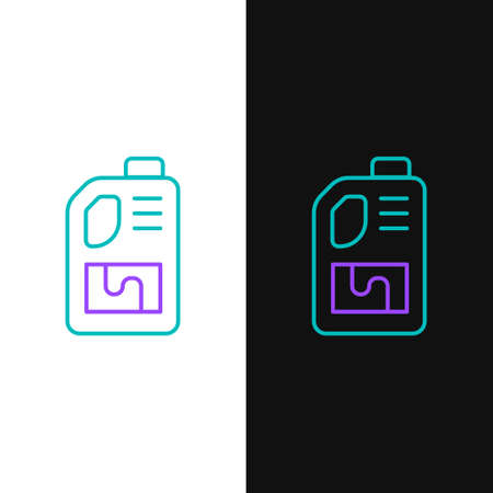 Line Drain cleaner bottle icon isolated on white and black background. Water pipes cleaning. Plumbing repair symbol. Colorful outline concept. Vector