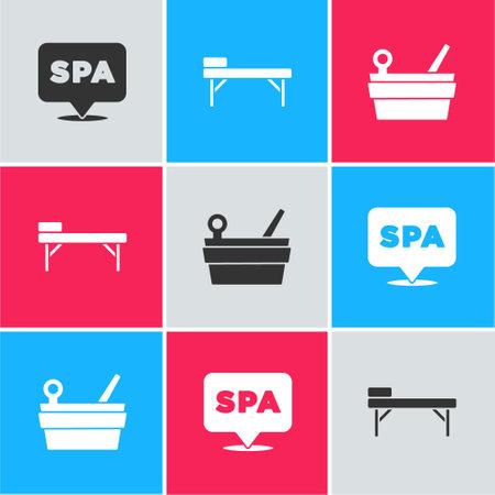 Set Spa salon, Massage table and Sauna bucket and ladle icon. Vector