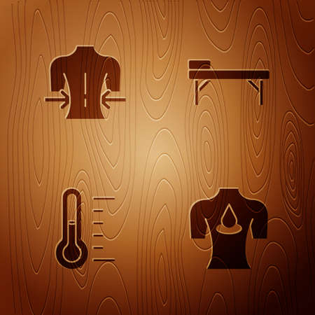 Set Massage with aroma oils, , Sauna thermometer and table on wooden background. Vector