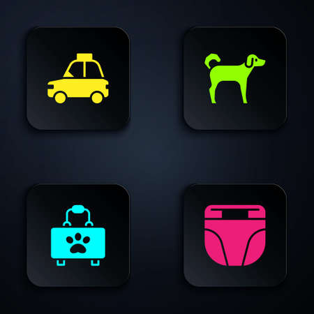Set Diaper for dog, Pet car taxi, first aid kit and Dog. Black square button. Vector