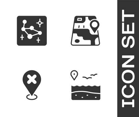 Set Location with beach, Great Bear constellation, cross mark and City map navigation icon. Vector Illustration