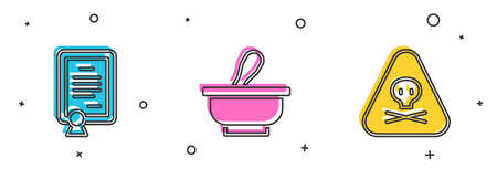 Set Certificate template, Mortar and pestle and Triangle warning toxic icon. Vector