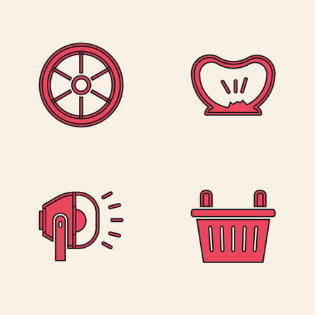 Set Bicycle basket, wheel, punctured tire and head lamp icon. Vector
