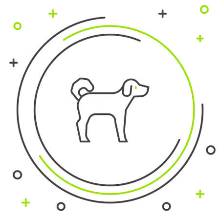 Line Dog icon isolated on white background. Colorful outline concept. Vector