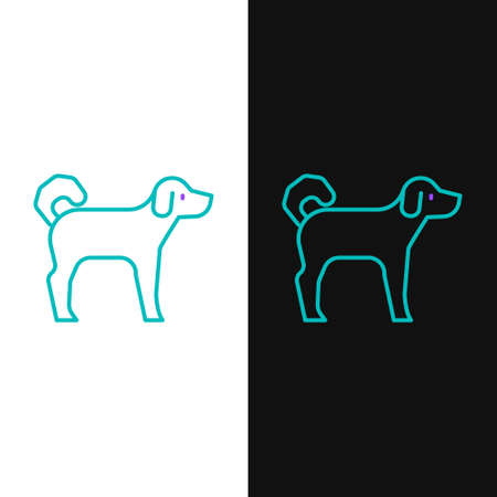 Line Dog icon isolated on white and black background. Colorful outline concept. Vector Çizim
