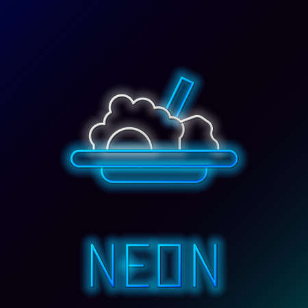Glowing neon line Healthy food icon isolated on black background. Colorful outline concept. Vector