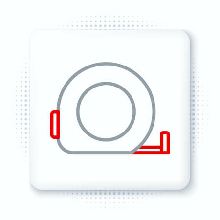Line Roulette construction icon isolated on white background. Tape measure symbol. Colorful outline concept. Vector
