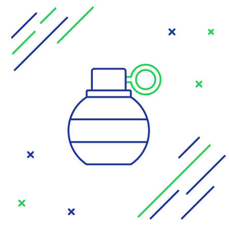 Line Hand grenade icon isolated on white background. Bomb explosion. Colorful outline concept. Vector