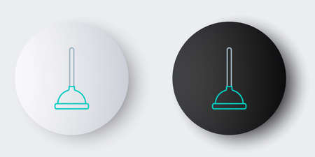 Line Rubber plunger with wooden handle for pipe cleaning icon isolated on grey background. Toilet plunger. Colorful outline concept. Vector