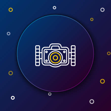 Line Photo camera for diver icon isolated on blue background. Foto camera icon. Diving underwater equipment. Colorful outline concept. Vector