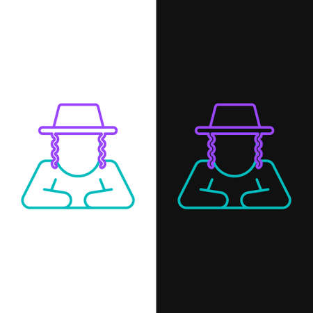 Line Orthodox jewish hat with sidelocks icon isolated on white and black background. Jewish men in the traditional clothing. Judaism symbols. Colorful outline concept. Vector