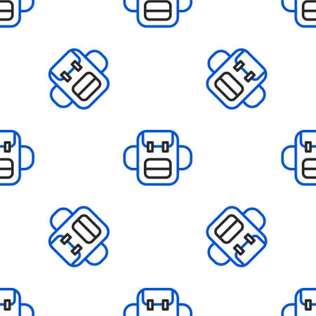 Line School backpack icon isolated seamless pattern on white background. Colorful outline concept. Vector