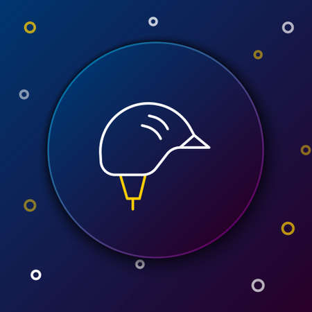 Line Bicycle helmet icon isolated on blue background. Extreme sport. Sport equipment. Colorful outline concept. Vector Ilustracja