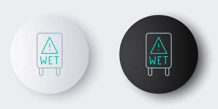Line Wet floor and cleaning in progress icon isolated on grey background. Cleaning service concept. Colorful outline concept. Vector Ilustracja