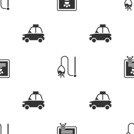 Set Certificate for dog or cat, Pet toy and car taxi on seamless pattern. Vector