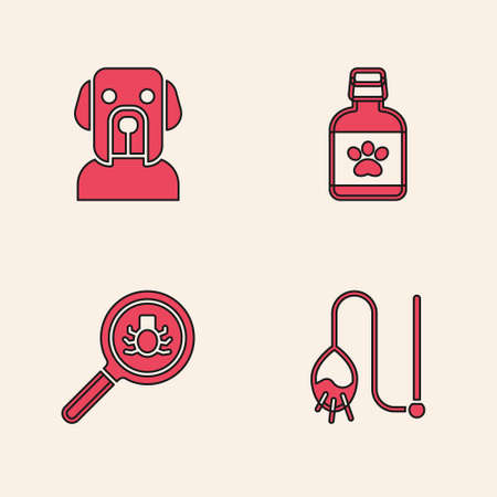 Set Pet cat toy, Dog, medicine bottle and Flea search icon. Vector