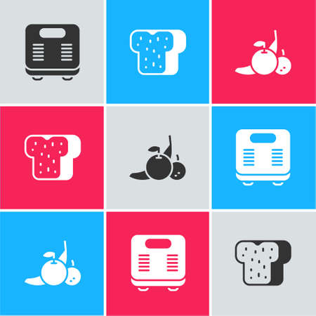 Set Bathroom scales, Bread toast and Fruit icon. Vector
