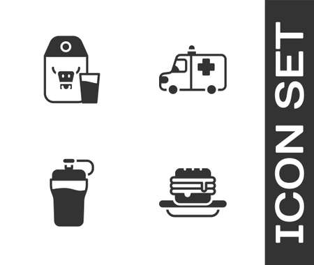 Set Junk food, Paper package for milk, Fitness shaker and Ambulance and emergency car icon. Vector