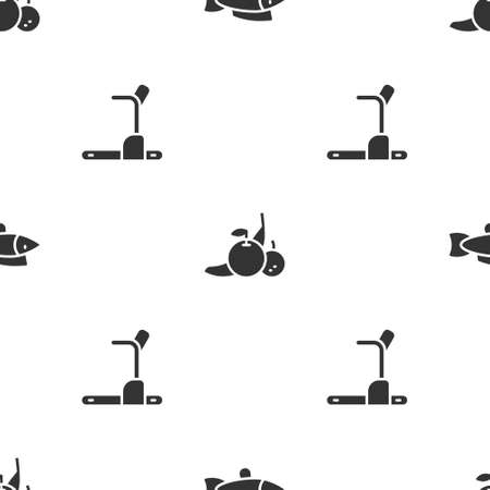 Set Fish, Fruit and Treadmill machine on seamless pattern. Vector
