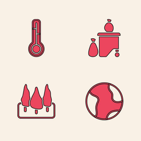Set Earth globe, Meteorology thermometer, Full dustbin and Forest icon. Vector