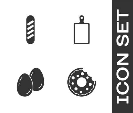 Set Donut, French baguette bread, Easter eggs and Cutting board icon. Vector