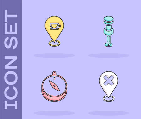 Set Location with cross mark, coffee cup, Compass and Push pin icon. Vector