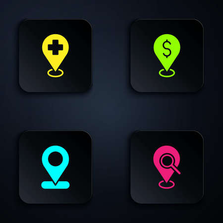 Set Search location, Medical with cross, Location and Cash. Black square button. Vector