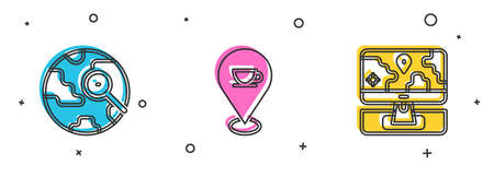 Set Magnifying glass with globe, Location coffee cup and Monitor location marker icon. Vector Ilustracja