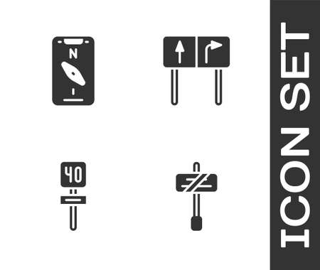 Set Road traffic sign, Compass on mobile, and icon. Vector