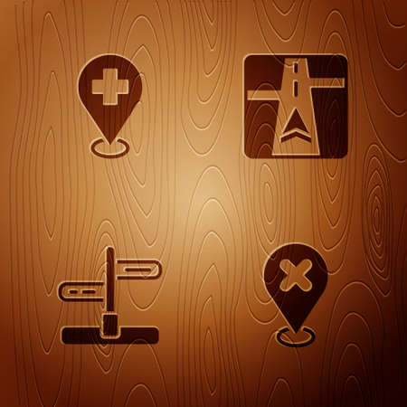 Set Location with cross mark, Medical location, Road traffic sign and Gps device map on wooden background. Vector Ilustracja