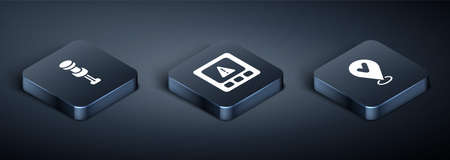 Set Isometric Push pin, Location with check mark and Gps device error icon. Vector Ilustracja