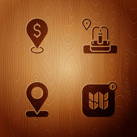 Set Infographic of city map, Cash location, Location and with fountain on wooden background. Vector