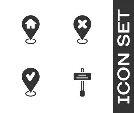 Set Road traffic sign, Location with house, check mark and cross icon. Vector