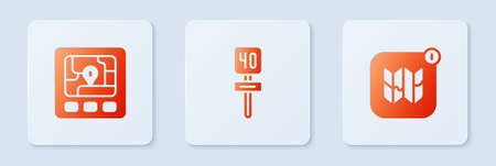 Set Road traffic sign, Gps device with map and Infographic of city. White square button. Vector
