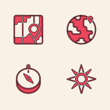 Set Wind rose, City map navigation, Location the globe and Compass icon. Vector Ilustracja
