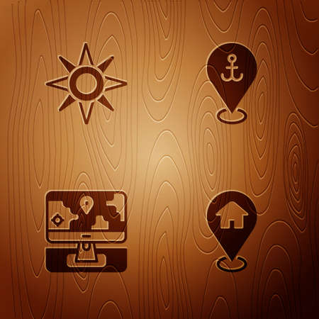 Set Location with house, Wind rose, Monitor location marker and anchor on wooden background. Vector
